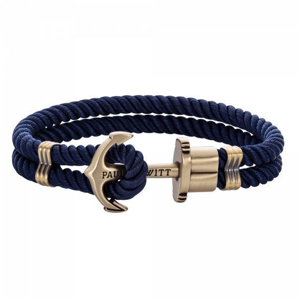 Anchor Bracelet Phrep Brass Nylon Navy Blue