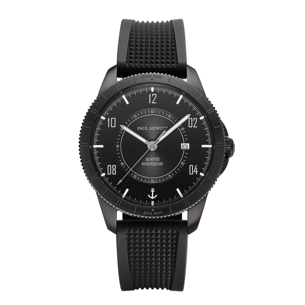 Uhr Tide Runner Pure Black Gun Metal Rubber Schwarz