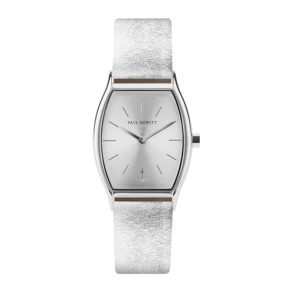Orologio Modern Edge Silver Sunray Argentato Pelle Liquid Silver