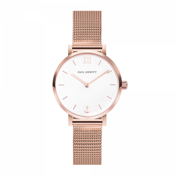 Montre Modest White Sand Or Rose Mesh