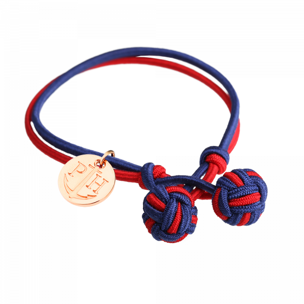 Knotbracelet Rose Gold Nylon Navy Blue Red