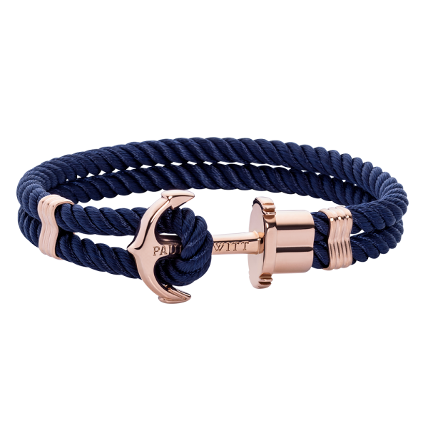 Anchor Bracelet Phrep Rose Gold Nylon Navy Blue