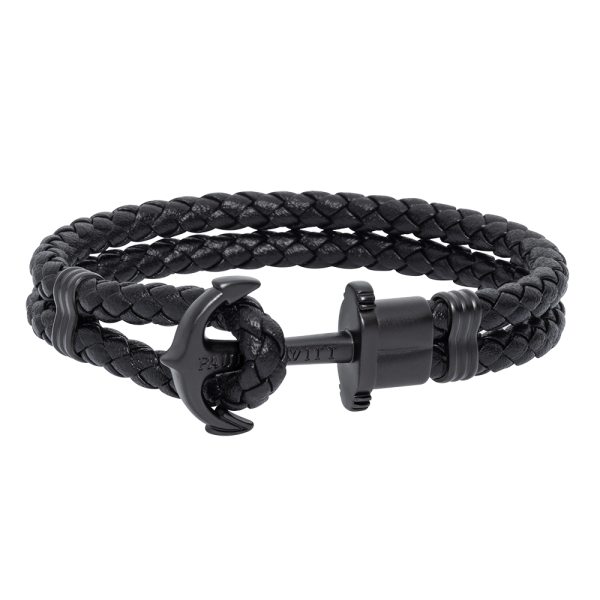 Anchor Bracelet Phrep Black Leather Black