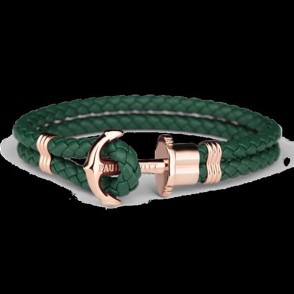 Ankerarmband Phrep Roségold Leder Grün