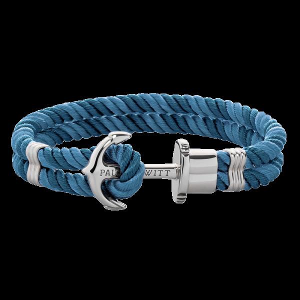 Bracelet Ancre Phrep Argenté Nylon Niagara Petrol