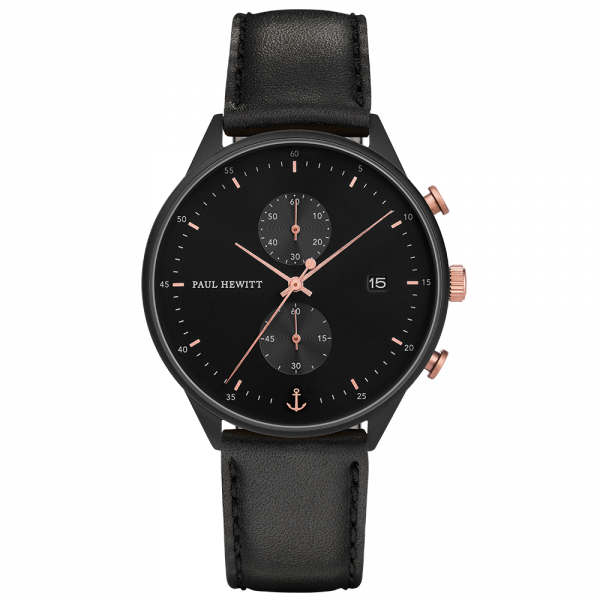 Watch Chrono Black Sunray Black Rose Gold Leather Black