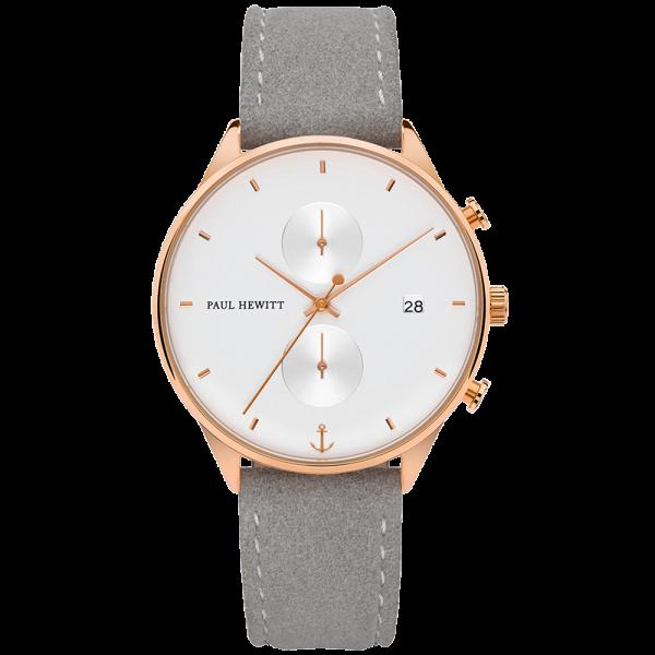 Reloj Chrono White Sand Or Rosa Piel Alcantara Gris