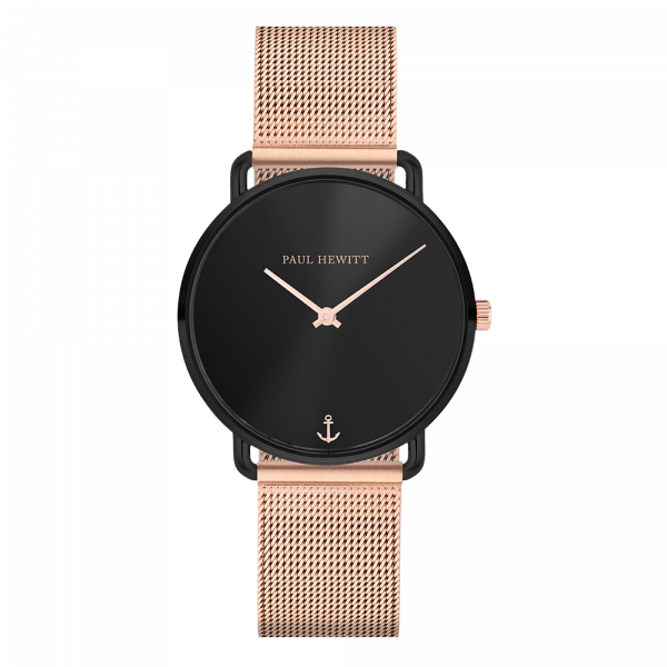 Montre Miss Ocean Black Sunray Noir Mesh Or Rose