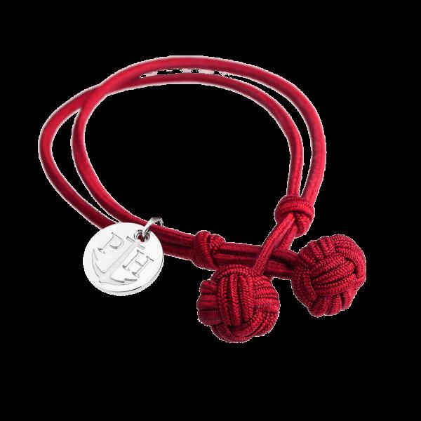 Bracelet Nœud Argenté Nylon Rouge