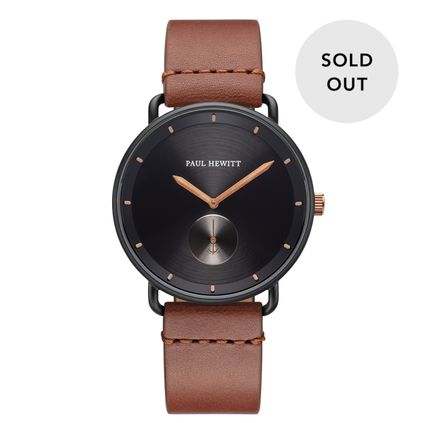 Watch Breakwater Black Sunray Black Bronze Leather Mid Brown