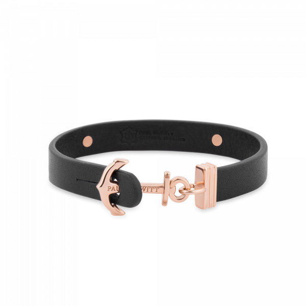 Anchor Bracelet Signum Rose Gold Leather Black