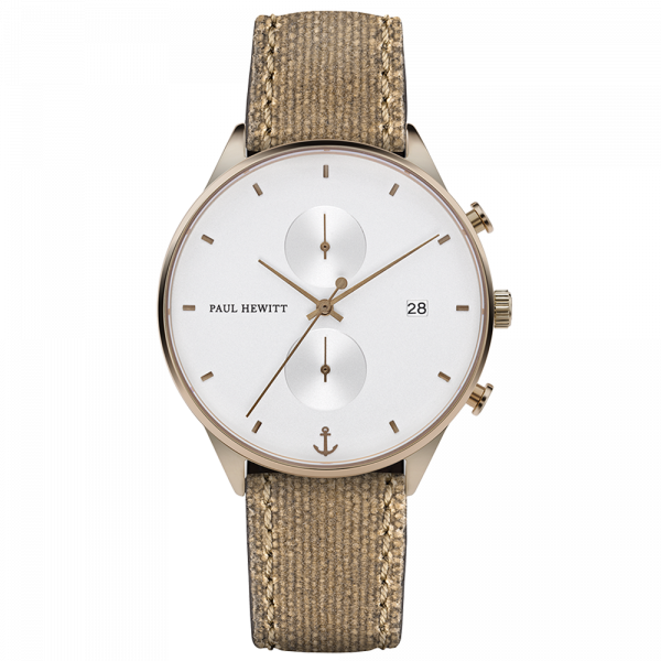 Montre Chrono White Sand Bronze Canvas Desert