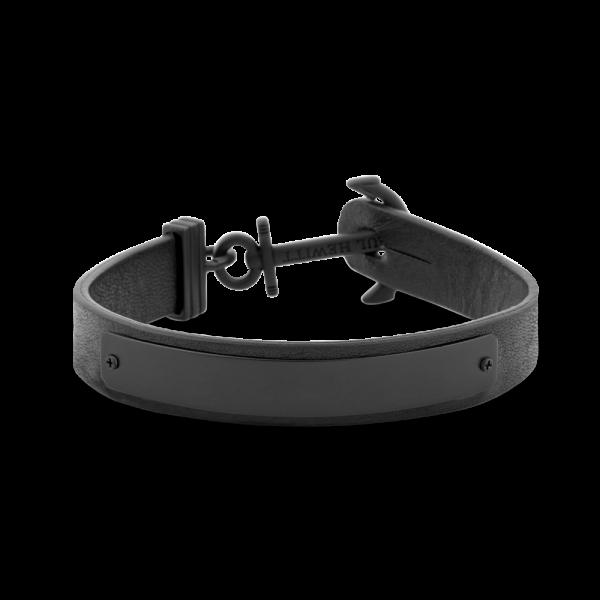 Signum Anchor Bracelet Black Leather