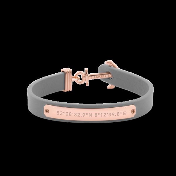 Anchor Bracelet Signum Rose Gold Leather Grey