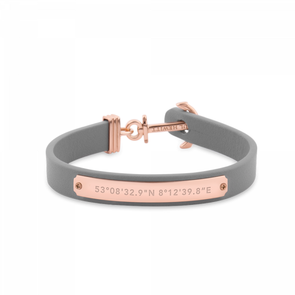 Ankerarmband Signum Roségold Leder Grau