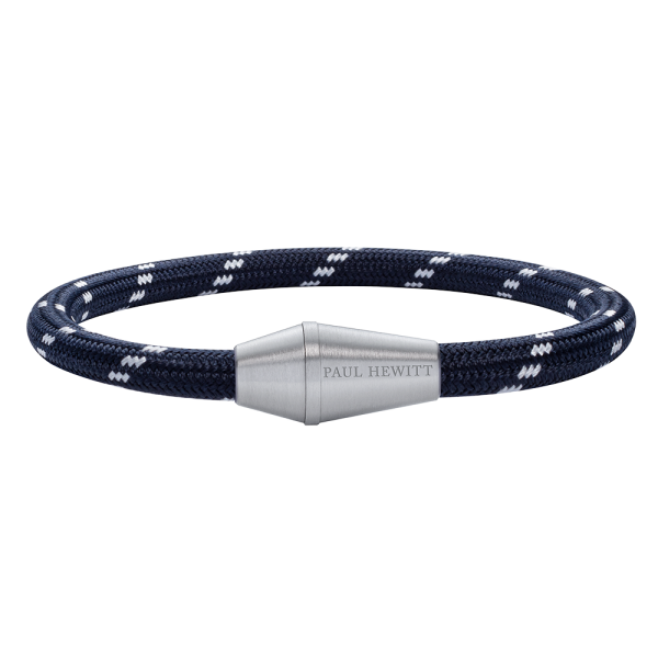 Bracelet Conic Silver Nylon Navy Blue White