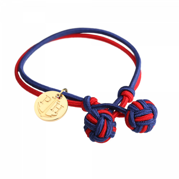 Knotbracelet Gold Nylon Navy Blue Red
