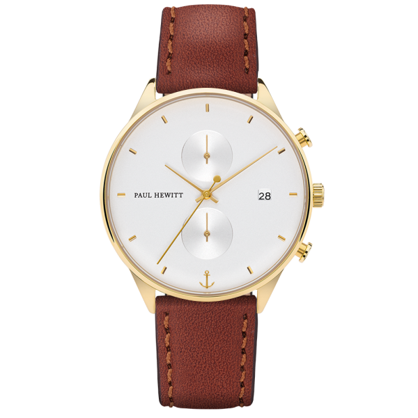 Watch Chrono White Sand Gold Leather Brown