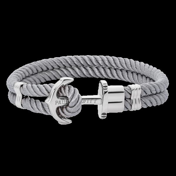 Bracelet Ancre Phrep Argenté Nylon Gris