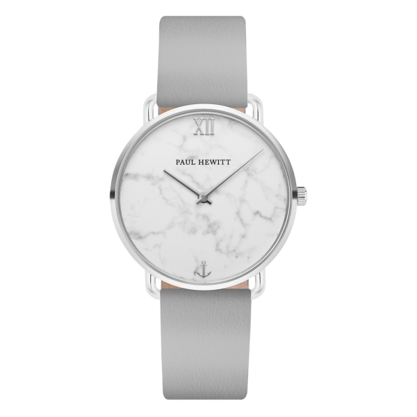 Watch Miss Ocean Marble Silver Leather Graphite