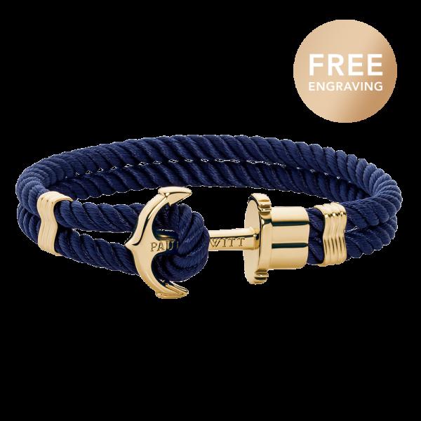 Ankerarmband Phrep Gold Nylon Marineblau