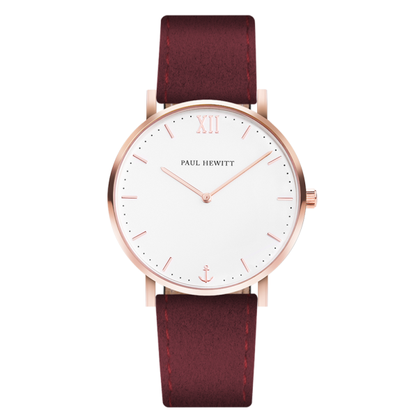 Montre Sailor White Sand Or Rose Alcantara Dark Berry