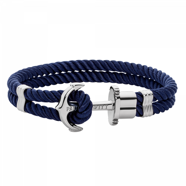 Anchor Bracelet Phrep Silver Nylon Navy Blue