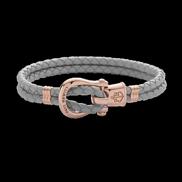 Armband Phinity Roségold Leder Grau