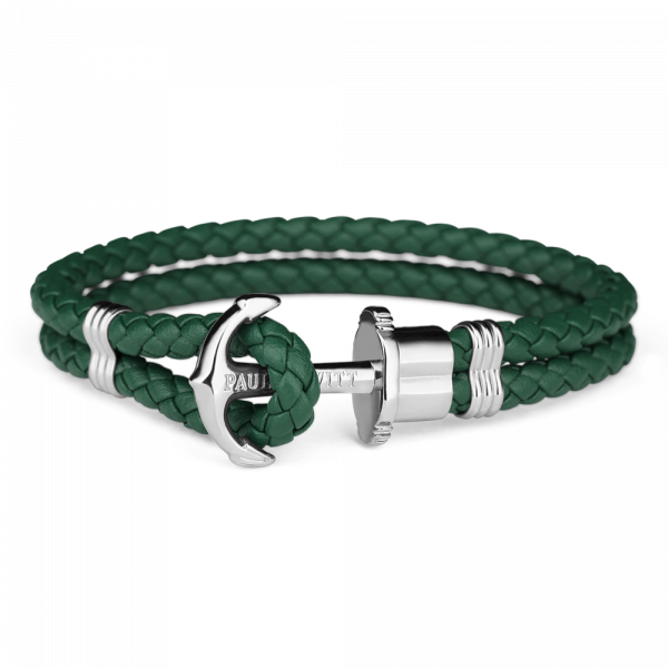 Anchor Bracelet Phrep Silver Leather Green