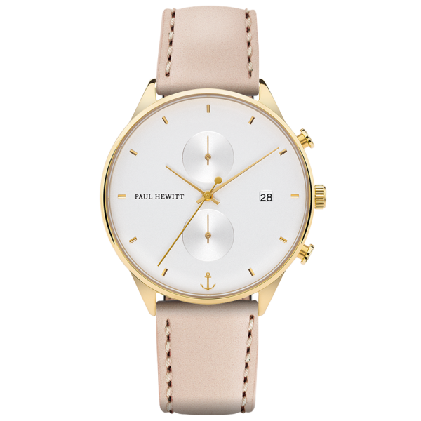 Watch Chrono White Sand Gold Leather Hazelnut