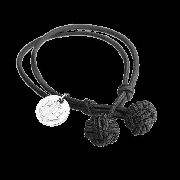Knotenarmband Silber Nylon Schwarz