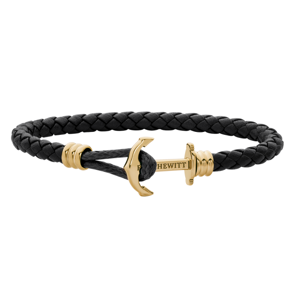Anchor Bracelet Phrep Lite Gold Leather Black