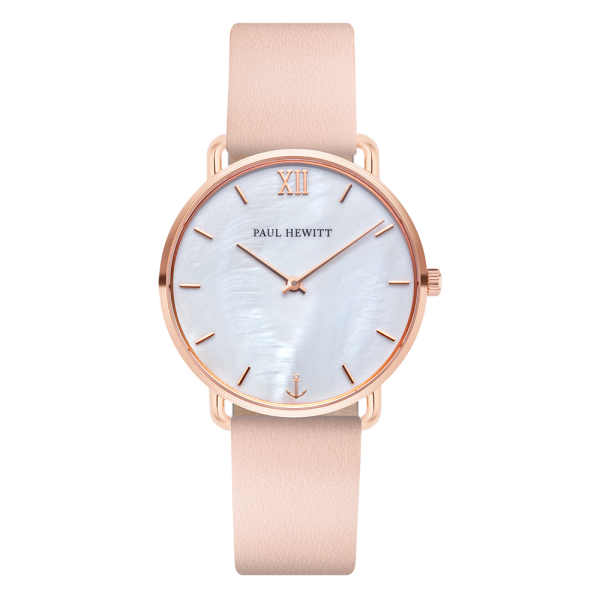 Montre Miss Ocean Pearl Or Rose Cuir Nude