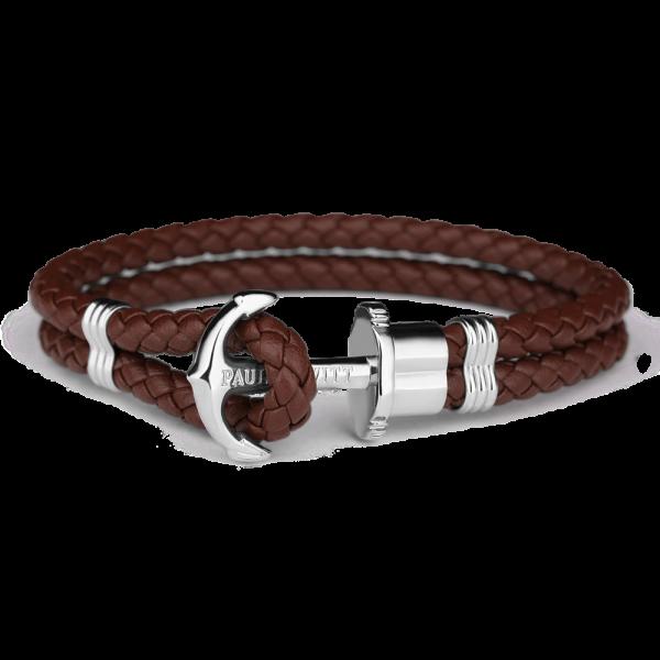Bracelet Ancre Phrep Argenté Cuir Marron