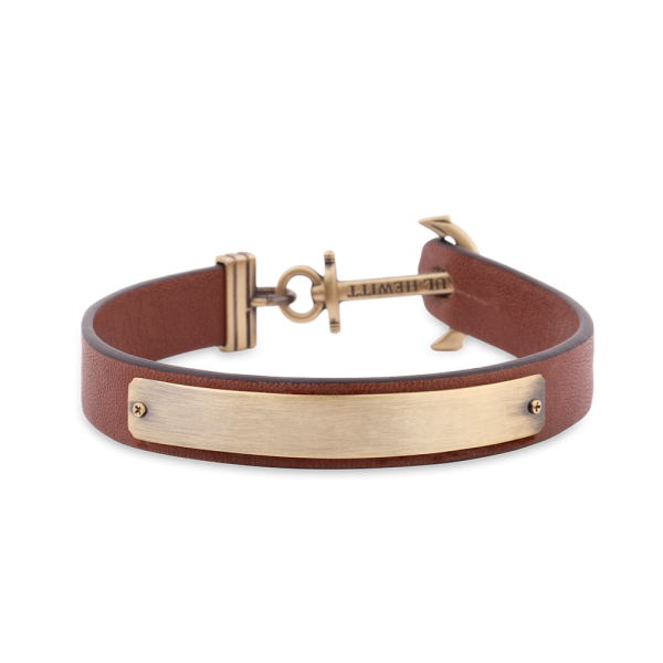 Anchor Bracelet Signum Brass Leather Brown
