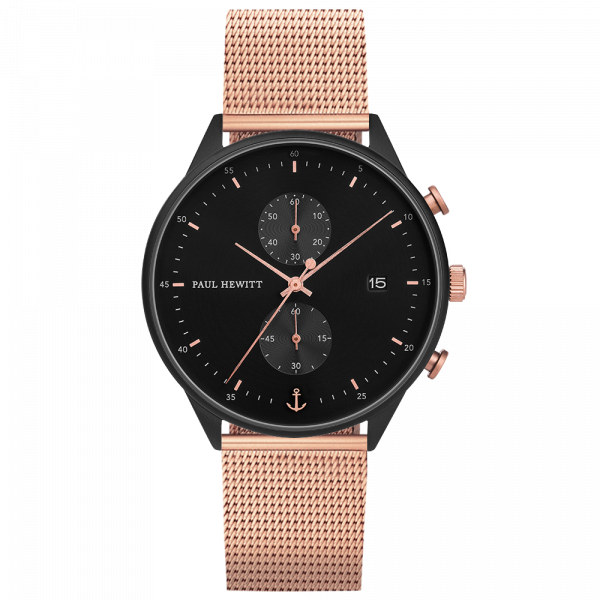 Watch Chrono Black Sunray Black Rose Gold Mesh Rose Gold