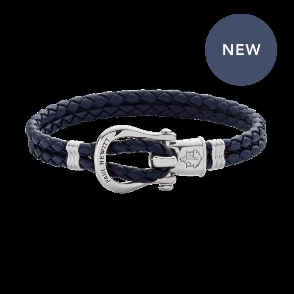 Bracelet Phinity Silver Leather Navy Blue