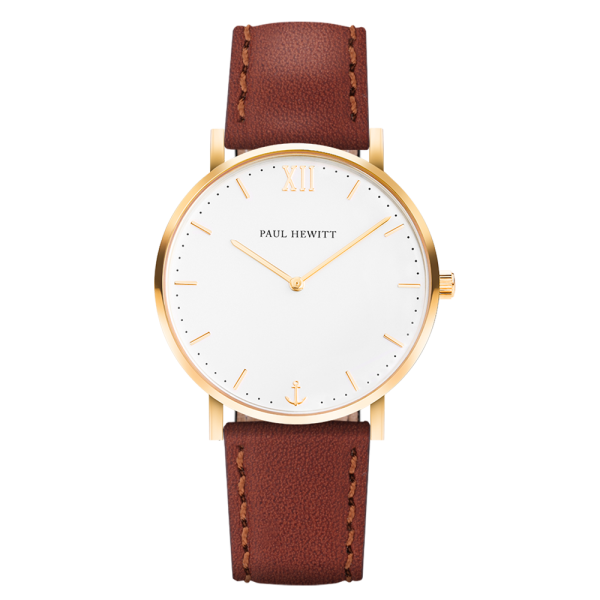 Montre Sailor White Sand Or Cuir Marron