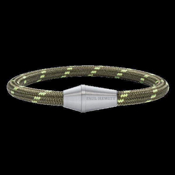 Bracelet Conic Silver Nylon Olive Green