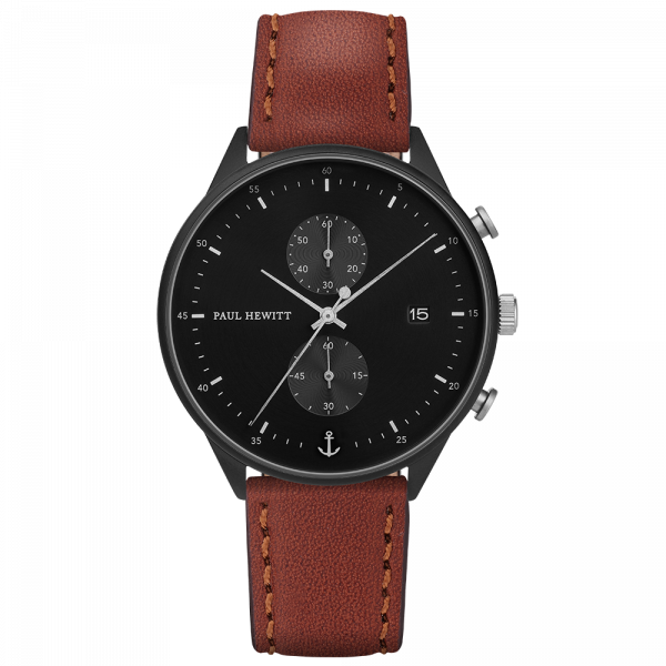 Watch Chrono Black Sunray Black Silver Leather Brown