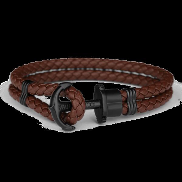 Bracelet Ancre Phrep Noir Cuir Marron