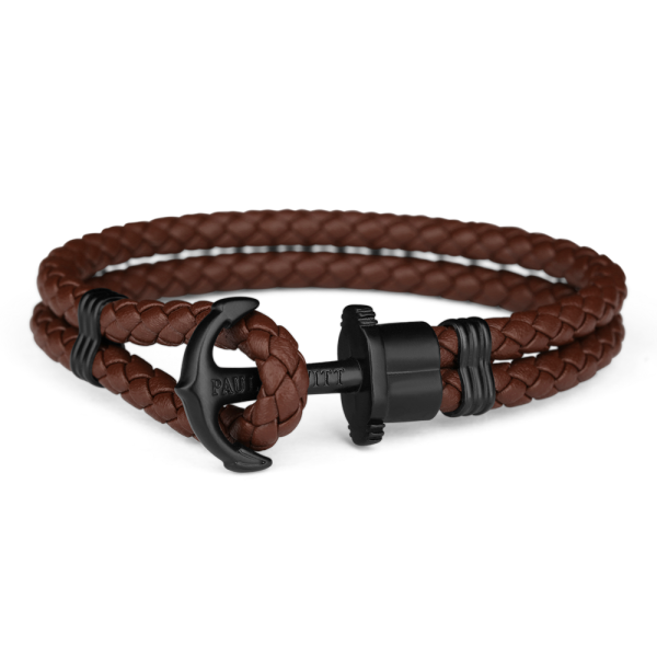 Anchor Bracelet Phrep Black Leather Brown