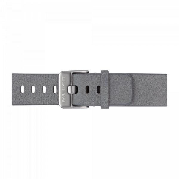 Watch Strap Leather Silver Light Grey 20 mm