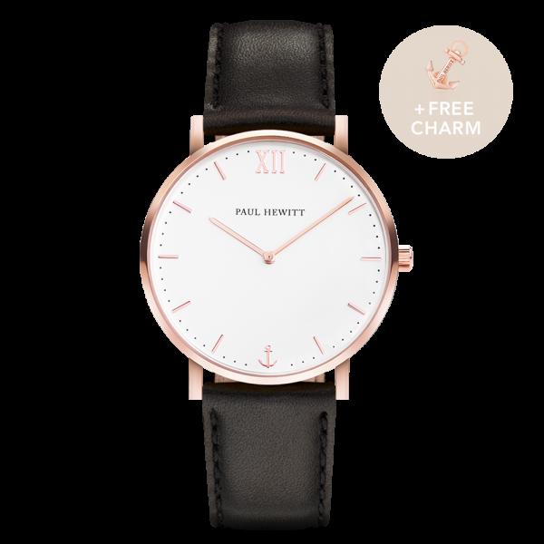 Uhr Sailor White Sand Roségold Leder Schwarz