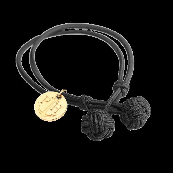 Knotbracelet Gold Nylon Black