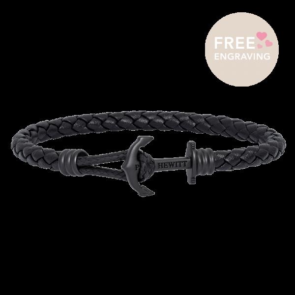 Bracelet Ancre Phrep Lite Noir Cuir Noir