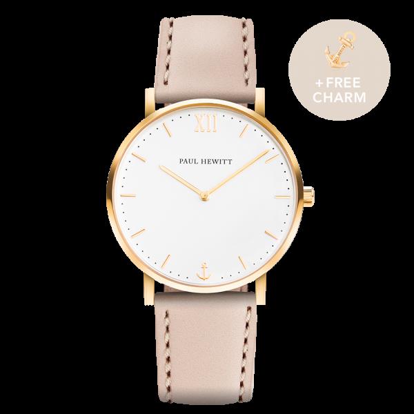 Watch Sailor White Sand Gold Leather Hazelnut