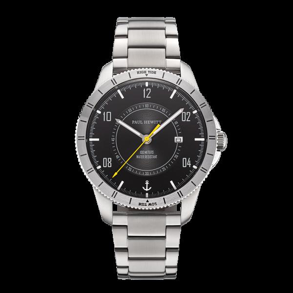 Uhr Tide Runner Pure Black Neon Gelb Silber Metall