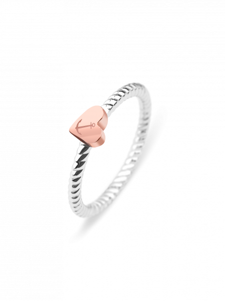 Anello Anchor Love Oro Rosa Argentato