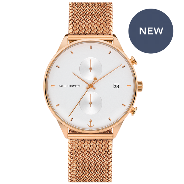 Montre Chrono White Sand Or Rose Woven Mesh